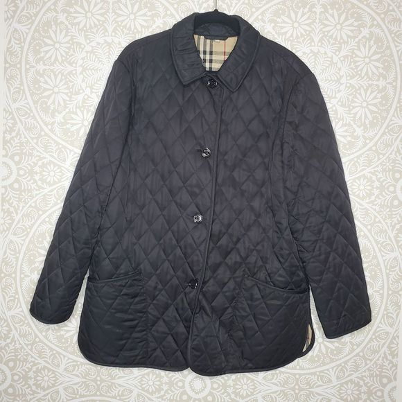 Burberry Black Quilted Jacket L Large